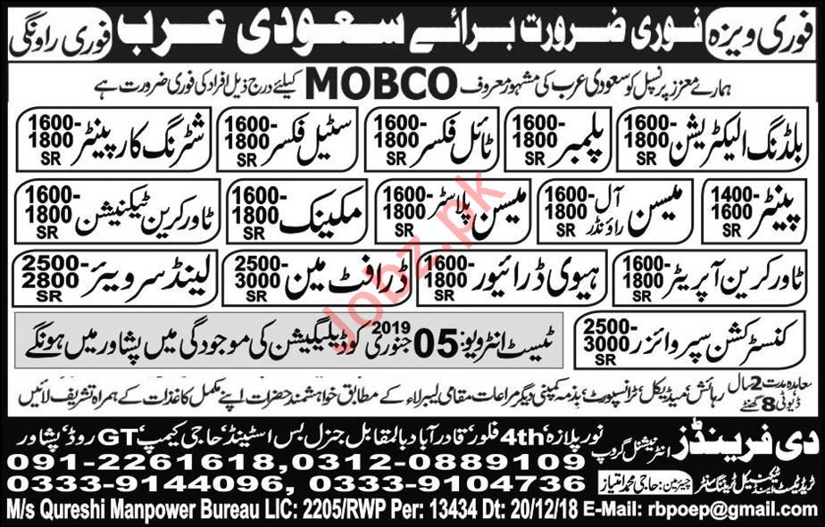 MOBCO Company Jobs 2019 For Saudi Arabia 2019 Job Advertisement Pakistan