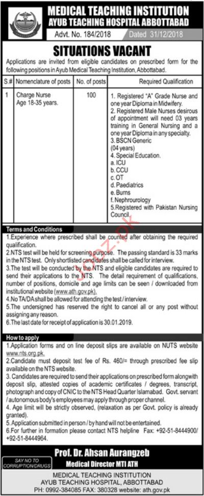 Medical Teaching Institution Charge Nurse Jobs 2019