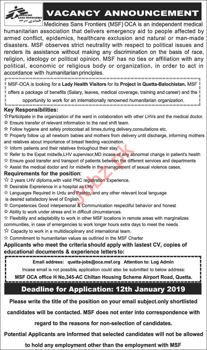 Lady Health Visitor Jobs 2019 in MSF Pakistan