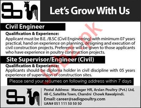 Civil Engineer & Site Supervisor Jobs 2019 in Rawalpindi 2019 Job