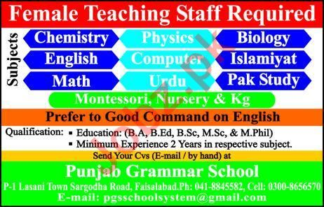 Punjab Grammar School Faisalabad Jobs 2019 for Teachers