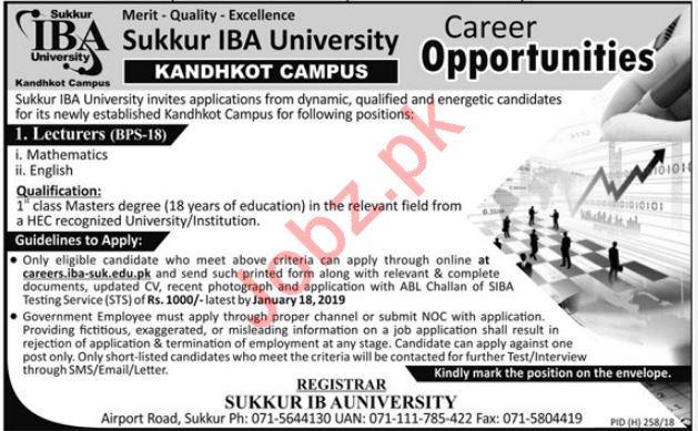 Sukkur IBA University Kandhkot Jobs 2019 for Lecturers