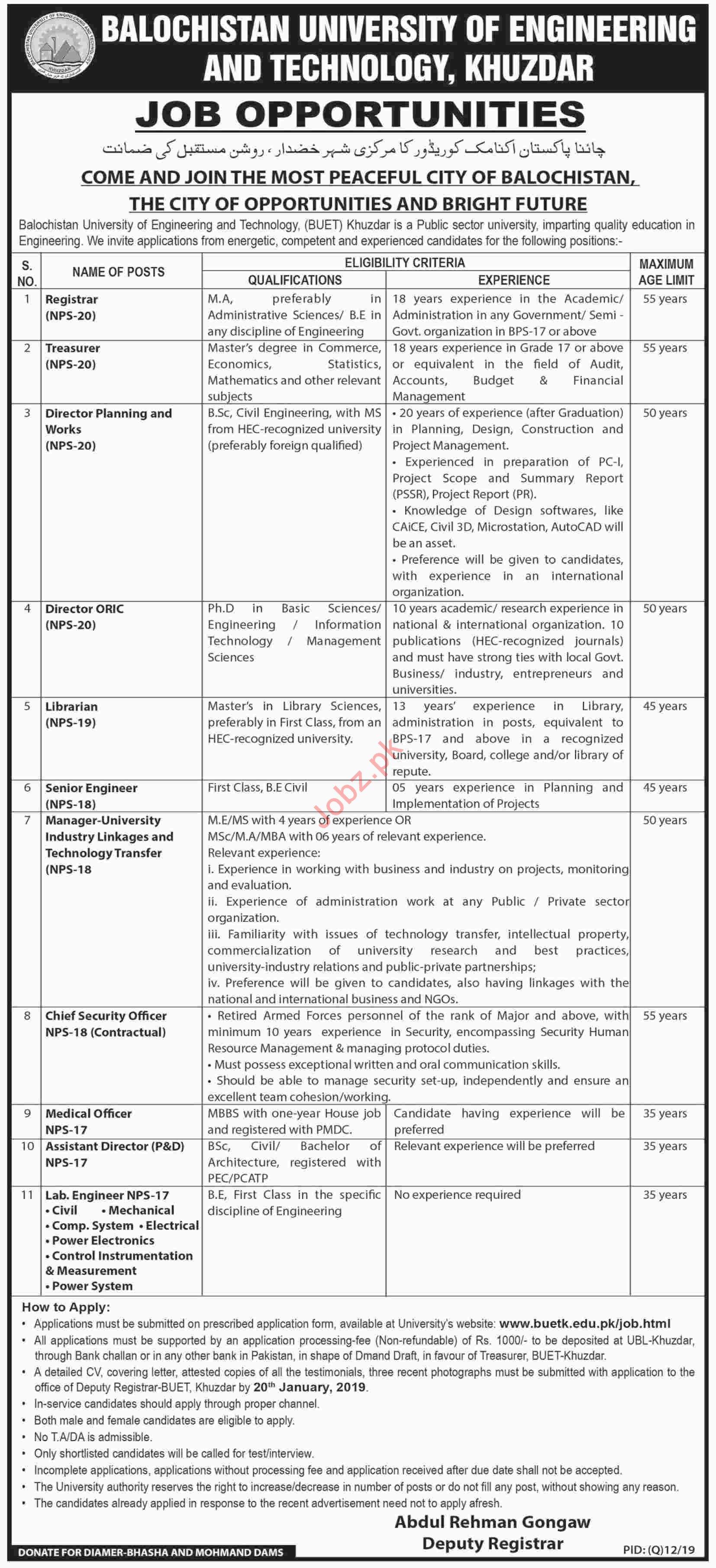 BUETK University Khuzdar Jobs 2019 for Registrar & Treasurer