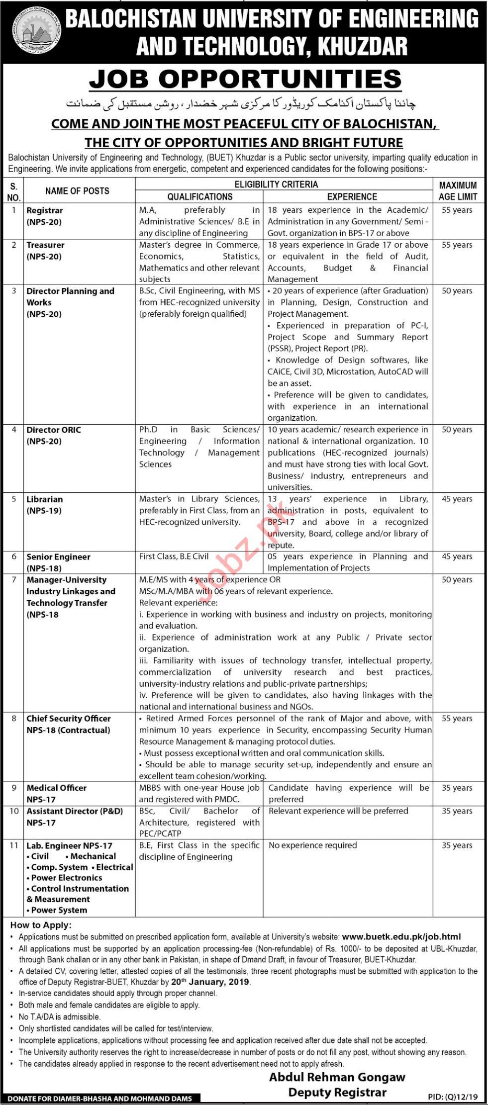 Balochistan University of Engineering & Technology Jobs 2019