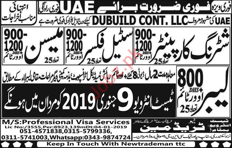 Dubuild Contracting LLC Construction Labors Jobs 2019 in UAE