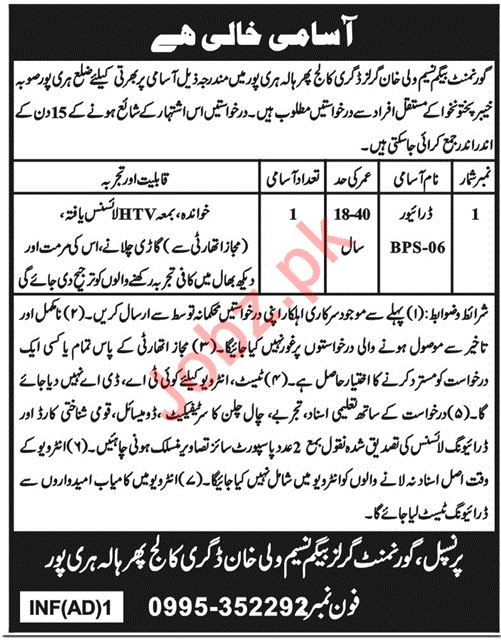 Govt Begum Naseem Wali Khan Girls College Driving Jobs 2019