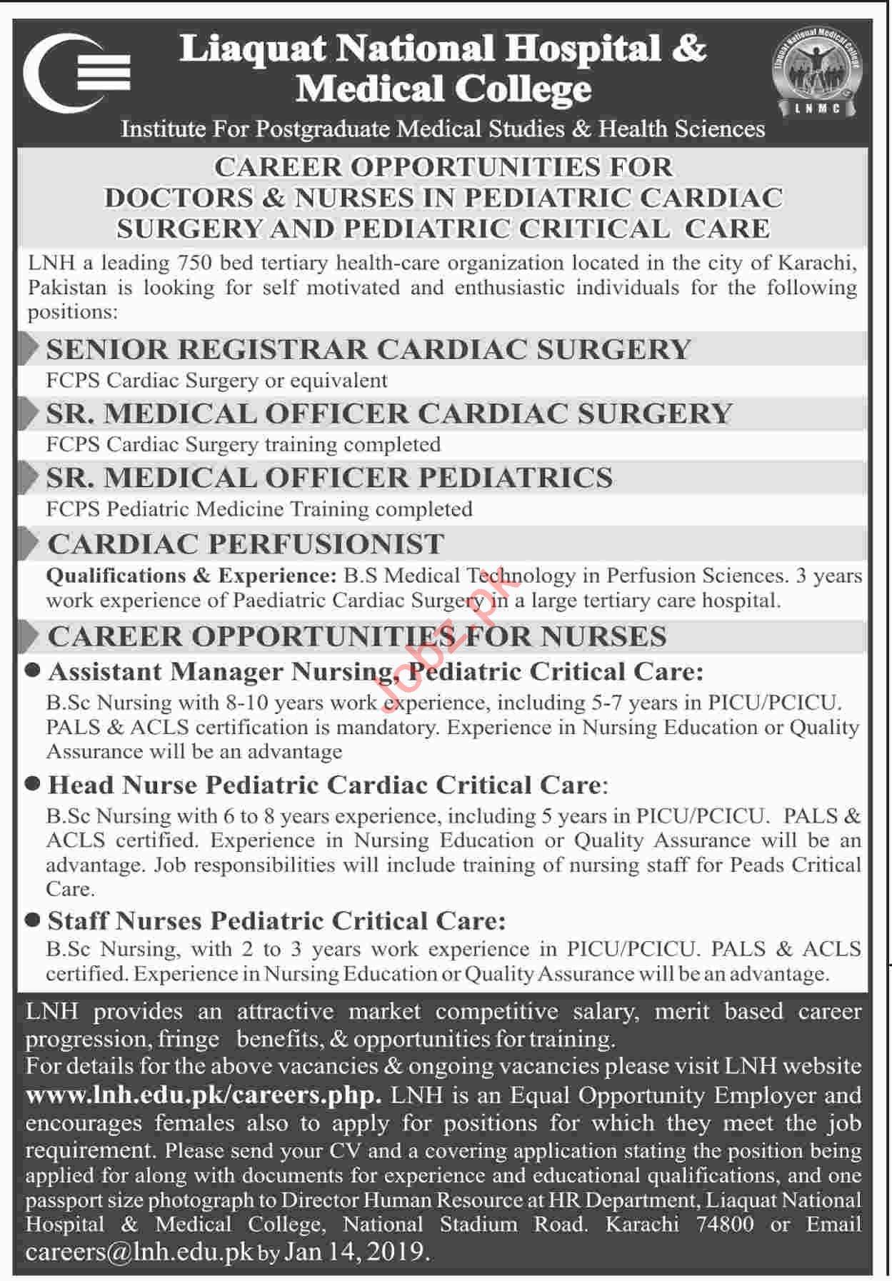 Senior Registrar Cardiac Surgery Jobs at LNH Medical College