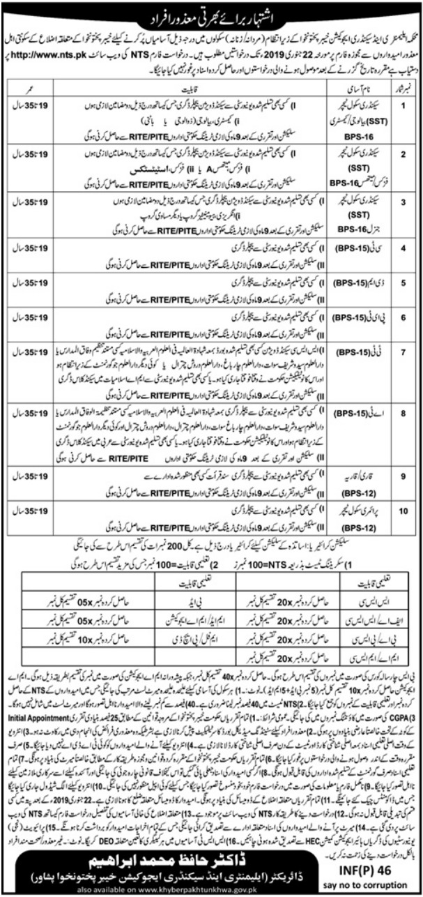 Teaching Jobs in Elementary & Secondary Education Department 2019