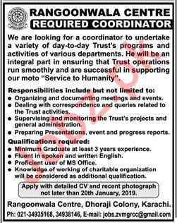 Coordinator Jobs at Rangoonwala Centre