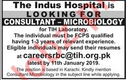 Consultant Microbiology Jobs at The Indus Hospital 2019 Job