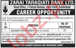 Assistant Vice President Shariah Scholar Jobs at ZTBL