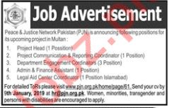 Peace & Justice Network Pakistan Project Head Jobs
