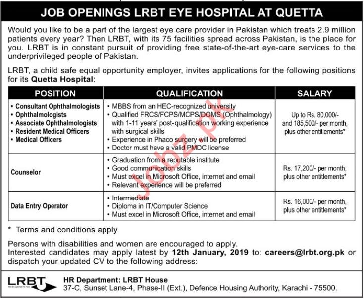 Consultant Ophthalmologists Job Opportunities at LRBT
