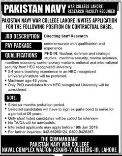 Directing Staff Research Jobs at Pakistan Navy War College