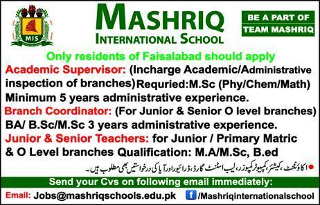 Mashriq International School Academic Supervisor Jobs 2019
