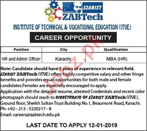 SZABIST Institute of Technical & Vocational Education Jobs