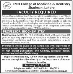 FMH College of Medicine Professor Biochemistry Jobs