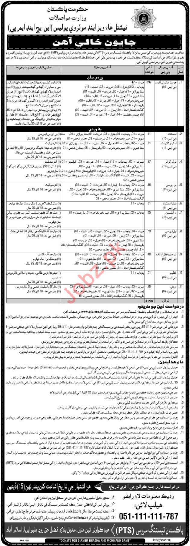 National Highways & Motorway Police NHMP Islamabad Jobs