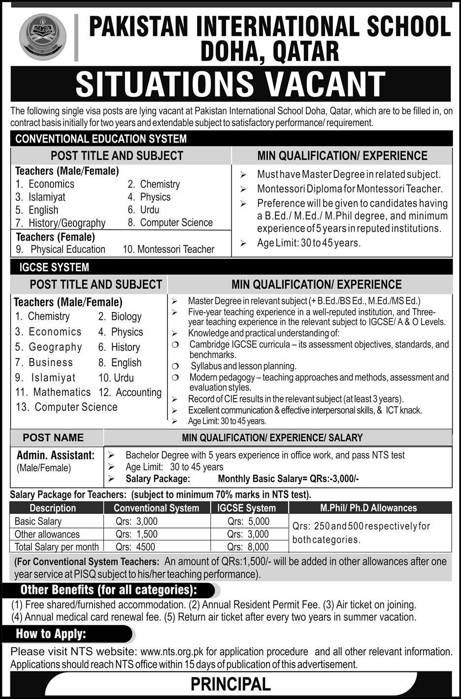 Pakistan International School Teaching Jobs 2019