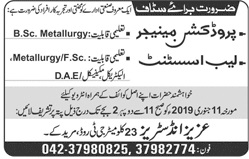 Aziz Group of Industries Production Manager Jobs