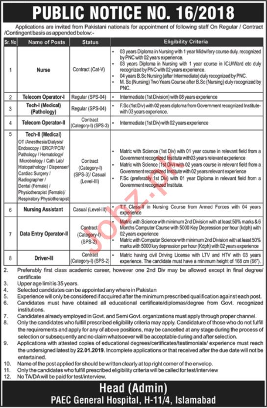 PAEC General Hospital Islamabad Jobs 2019 for Technicians