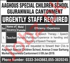 Aaghous Special Children School Gujranwala Jobs 2019