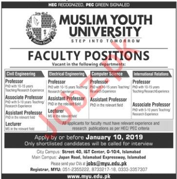 Muslim Youth University Professor Civil Engineering Jobs