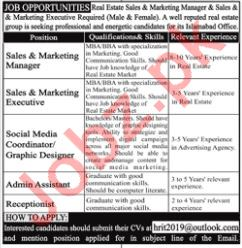 Sales and Marketing Manager Jobs at Real Estate Company
