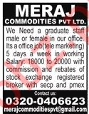 Meraj Commodities Lahore Jobs 2019 for Office Staff