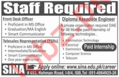 Paid Internship at SINA Institute for Front Desk Officer