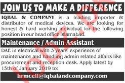 Iqbal & Company Maintenance Assistant Jobs