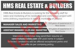 HMS Real Estate & Builders Manager Sales and Marketing Jobs