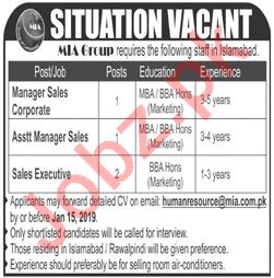 MIA Group of Companies Manager Sales Corporate Jobs