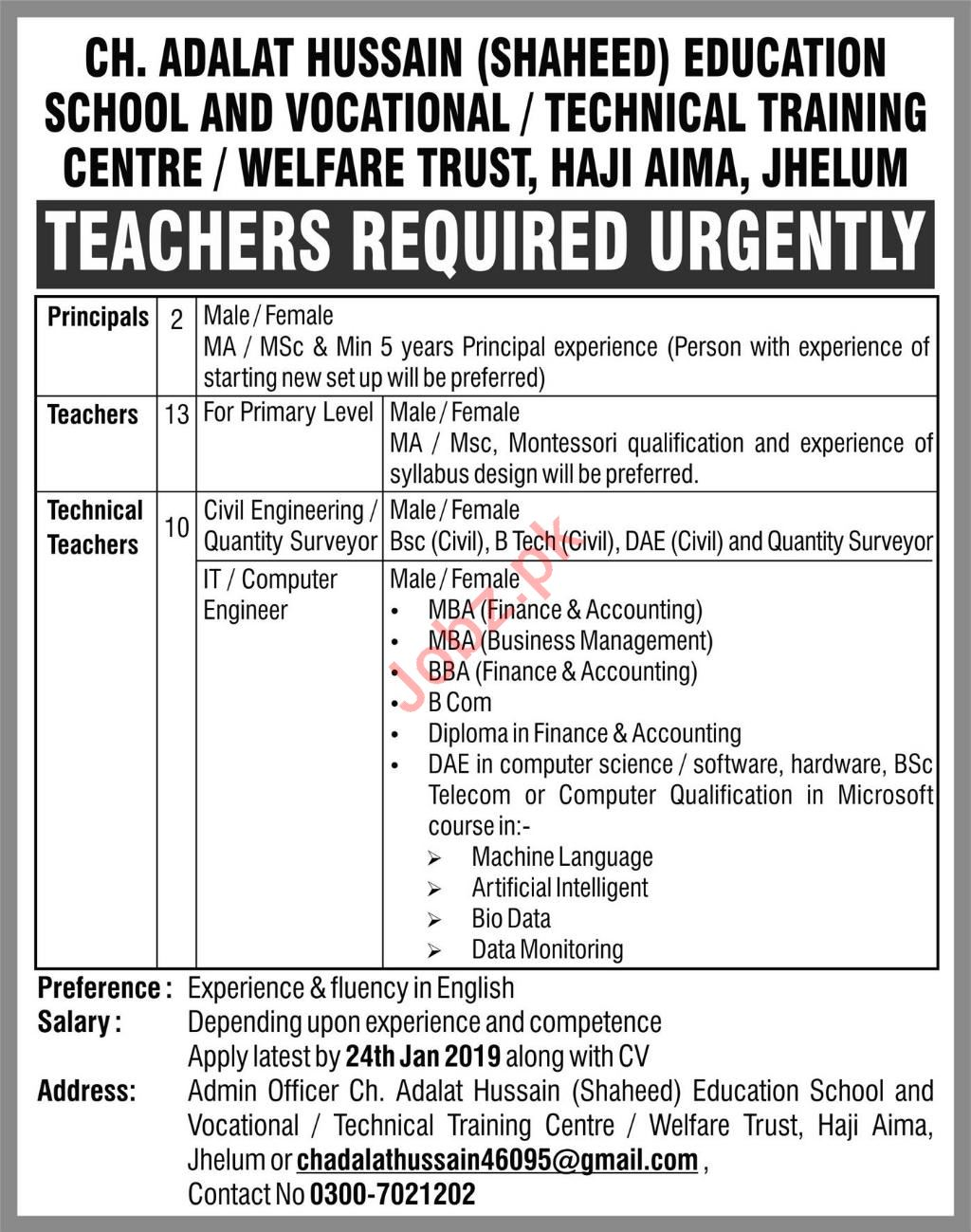 Ch Adalat Hussain Education School & Training Center Jobs