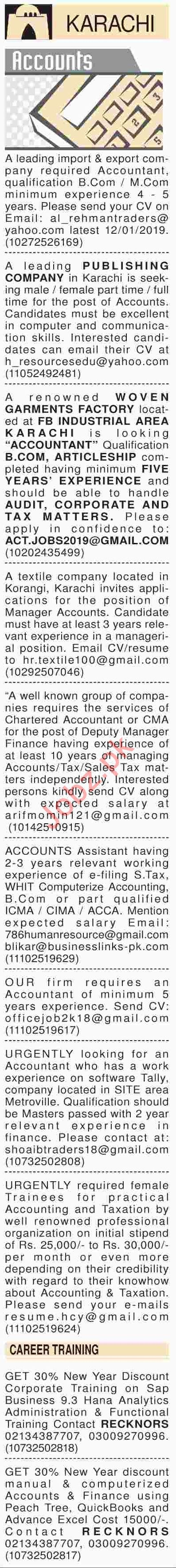 Dawn Sunday Classified Ads 6th Jan 2019 for Accounts Staff