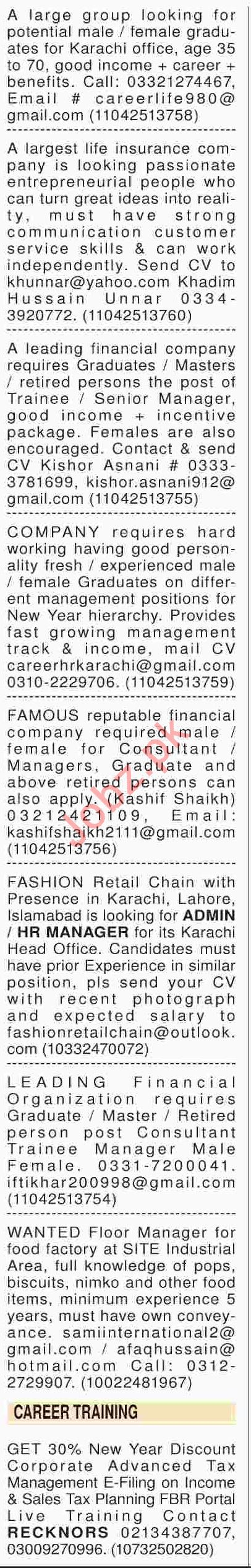 Dawn Sunday Classified Ads 6th Jan 2019 Management Staff
