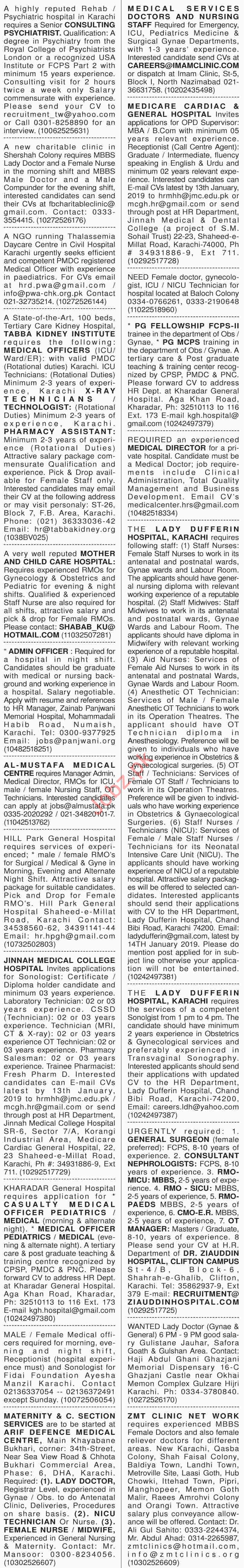 Dawn Sunday Classified Ads 6th Jan 2019 for Medical Staff