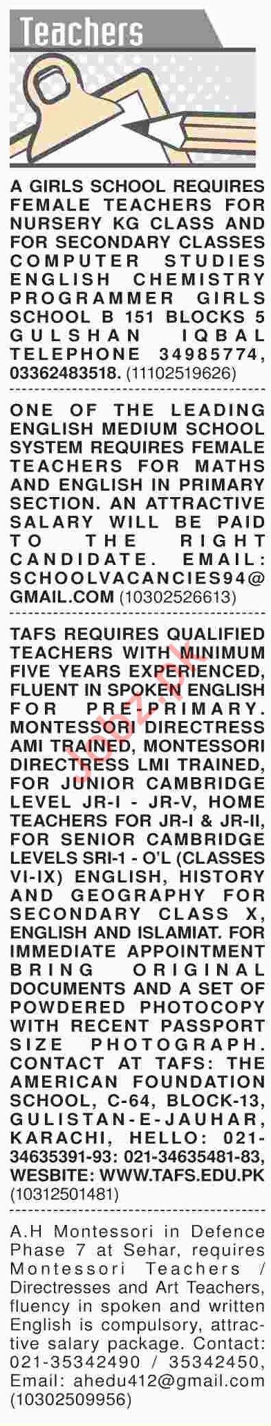 Dawn Sunday Classified Ads 6th Jan 2019 for Teaching Staff