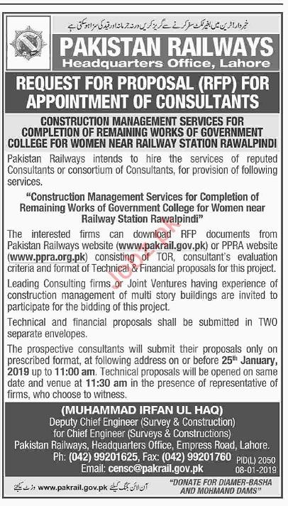 Pakistan Railways Rawalpindi Jobs 2019 for Consultants