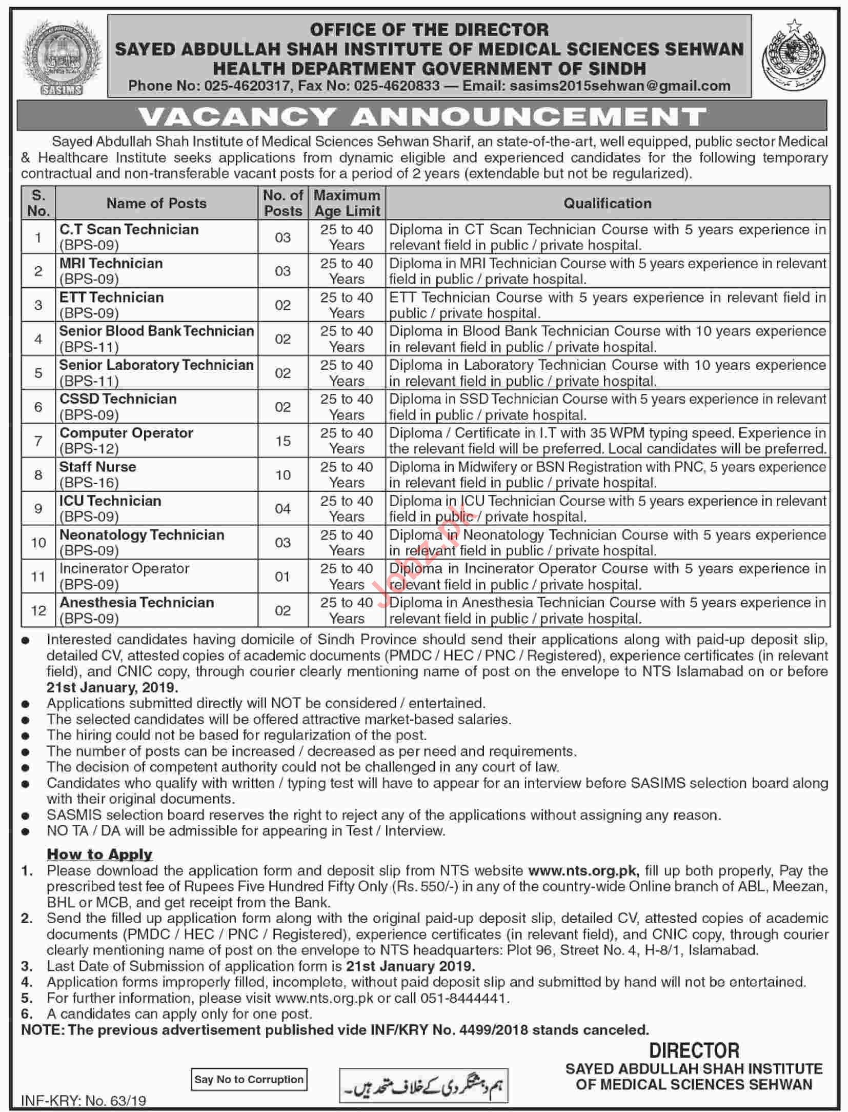 Syed Abdullah Shah Institute of Medical Sciences Sehwan Jobs