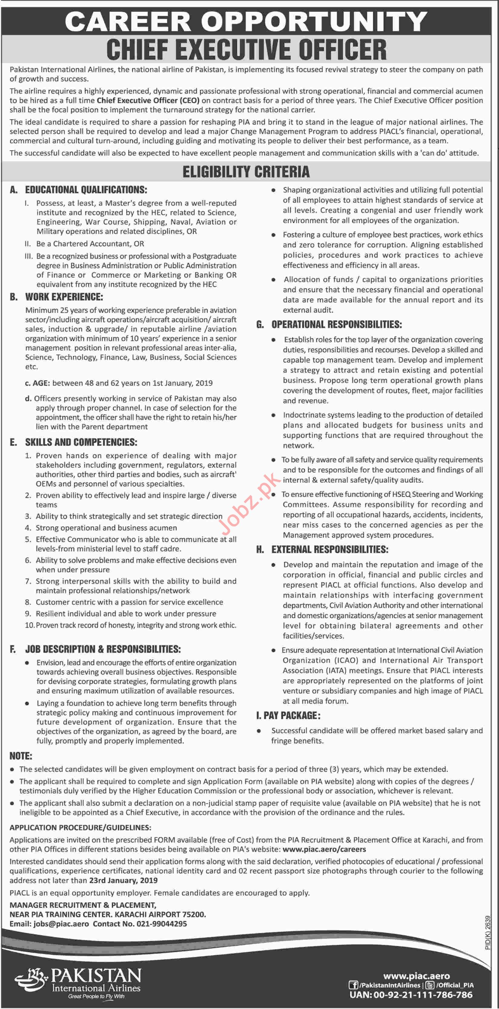 PIA Karachi Jobs 2019 for Chief Executive Officer