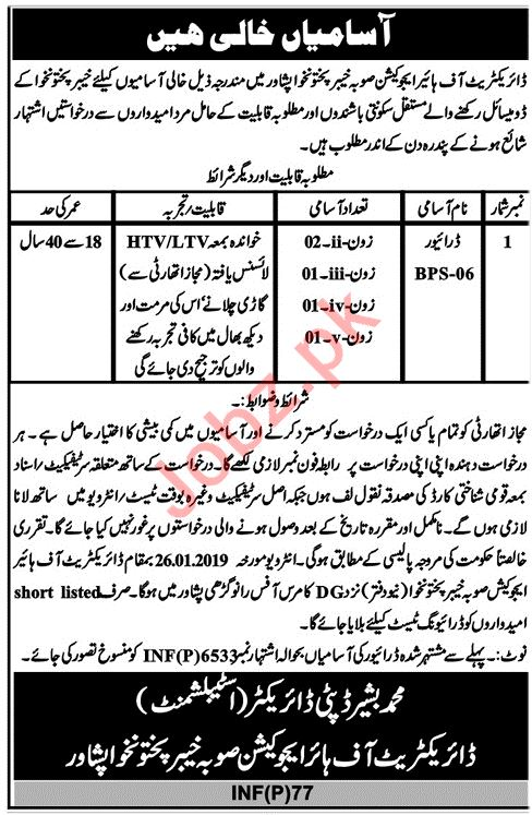 Directorate of Higher Education KPK Jobs 2019 fpr Drivers
