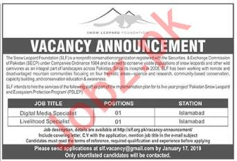 Snow Leopard Foundation SLF NGO Jobs 2019 in Islamabad