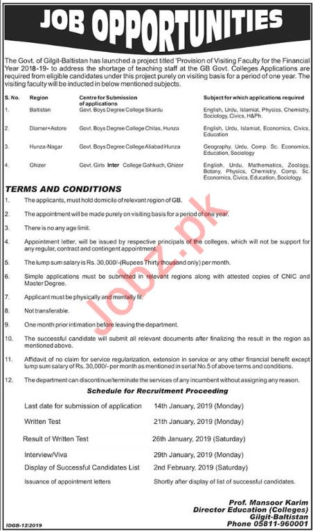 Government Colleges Visiting Faculty Jobs 2019