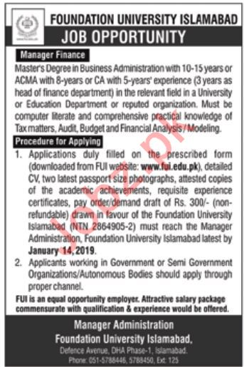 Foundation University Islamabad Job 2019