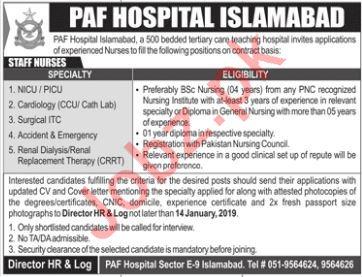 PAF Hospital Islamabad Jobs 2019 For Staff Nurses