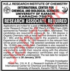 HEJ Research Institute of Chemistry Job 2019 in Karachi