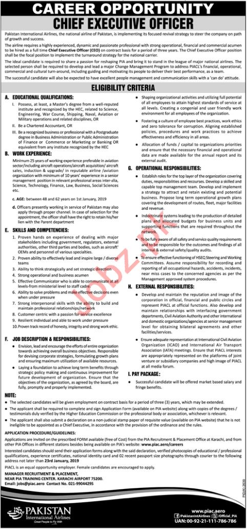 PIA Job 2019 For Chief Executive Officer CEO