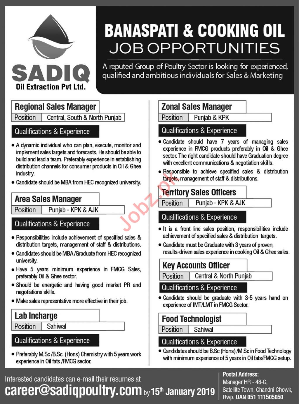 Sadiq Oil Extraction Pvt Limited Jobs 2019