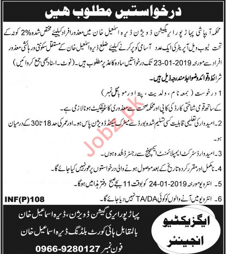 Irrigation Division Job 2019 in Dera Ismail DI Khan